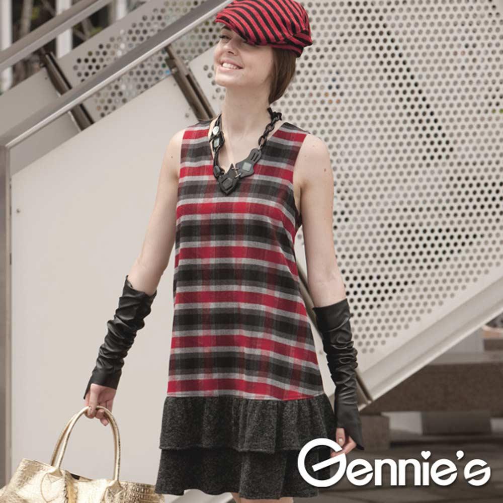 【Gennie's奇妮】學院風蘇格蘭格紋孕婦洋裝(C2Y10)