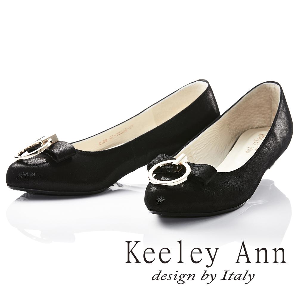 Keeley Ann 氣質甜美~金屬拉環蝴蝶結OL全真皮平底鞋(黑色)