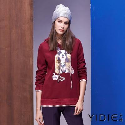 YIDIE衣蝶 拼接條紋棉質連帽上衣-紅