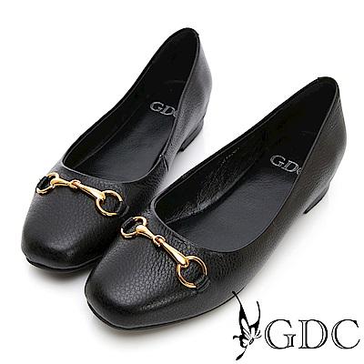 GDC-真皮歐美大方簡約設計感包鞋-黑色