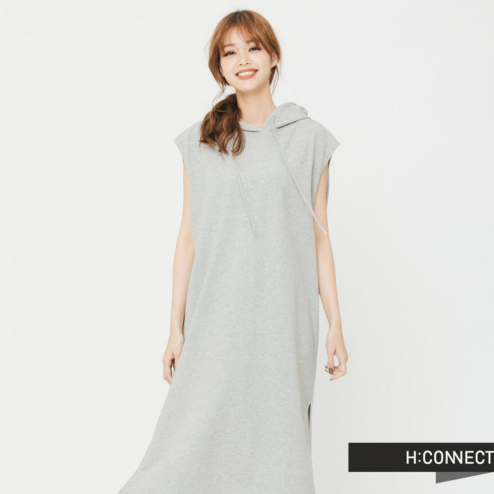 H:CONNECT韓國品牌女裝俏皮純色連身帽小洋裝-灰