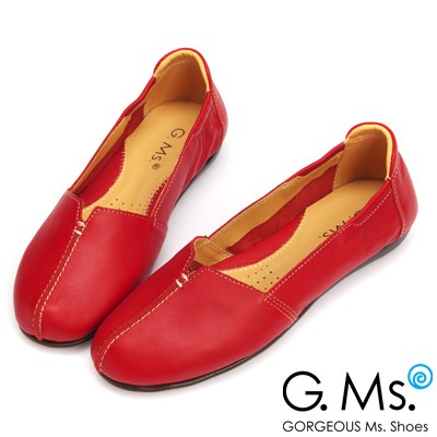 G.Ms. MIT系列-車縫簡約造型真皮娃娃便鞋- 俏皮紅