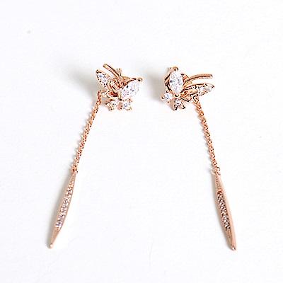 微醺禮物 正韓 鍍K金銀針 蝴蝶 後垂墜 圓尖 鑲鋯石 細緻款 耳針 耳環