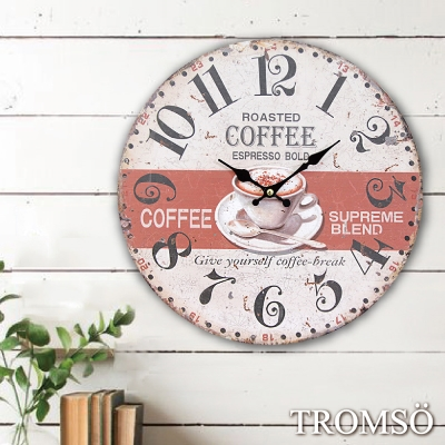 TROMSO無框畫時鐘-午後咖啡(圓形)