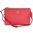 COACH珊瑚紅荔枝紋全皮雙層拉鍊袋手抓/斜背小包