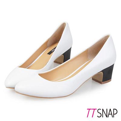 TTSNAP低跟鞋-MIT全真皮-素面柔軟牛皮方跟通勤鞋-白