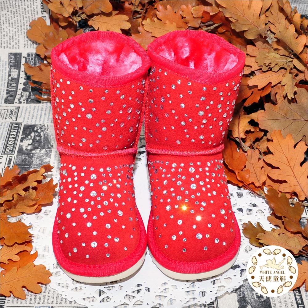 WhiteAngel天使童鞋-C266-17 璀璨星空雪靴-紅