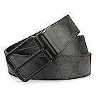 COACH 經典LOGO PVC防水皮革霧黑針扣式雙面用寬版皮帶-黑灰色