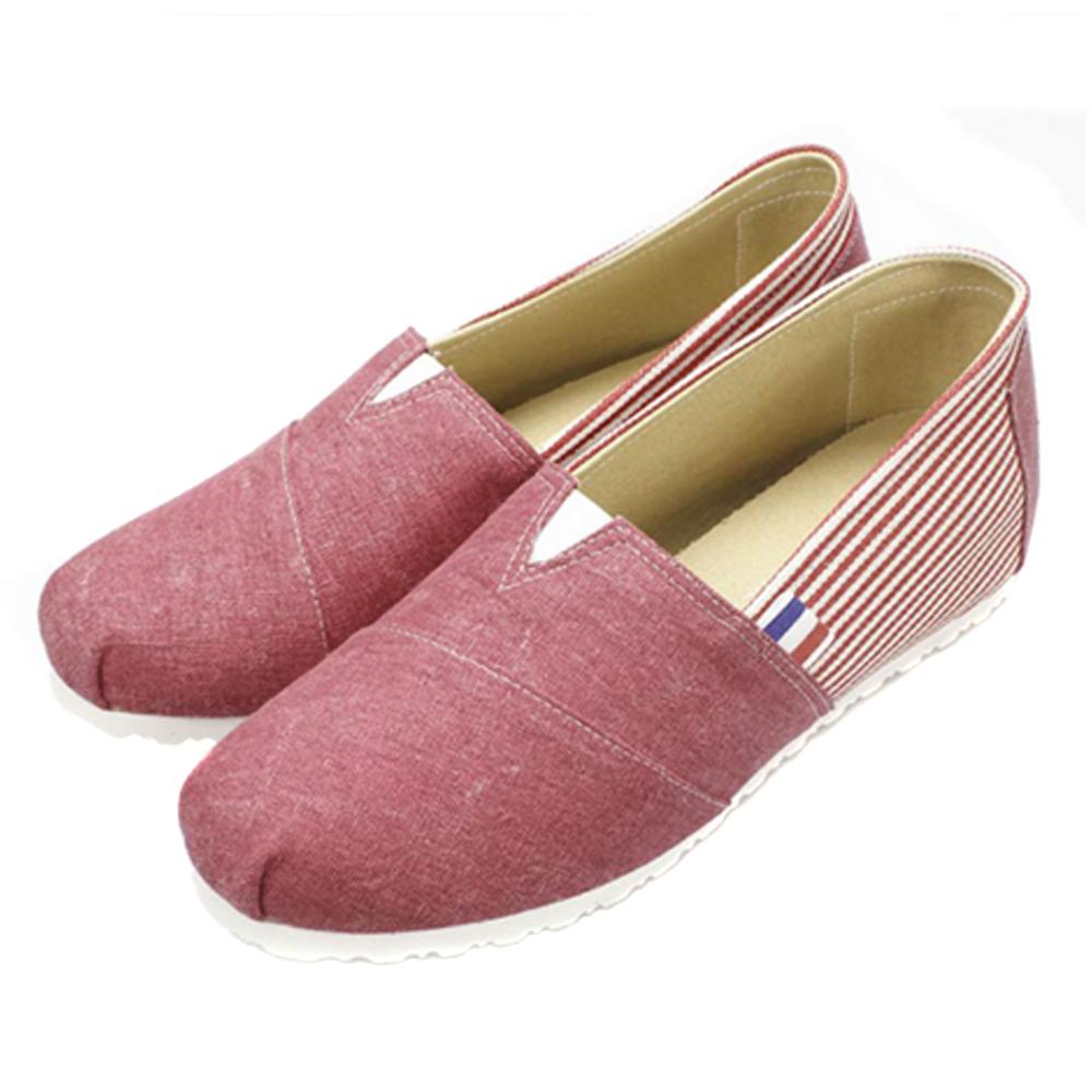 FUFA  MIT   內增高橫條造型懶人鞋  (FT01) 紅色