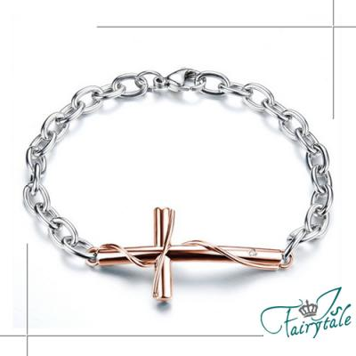 iSFairytale伊飾童話 真愛十字架 鑲鑽鈦鋼手鍊 女鍊款