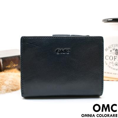 OMC - 原皮魅力真皮系列扣式加拉鏈短夾-星辰藍