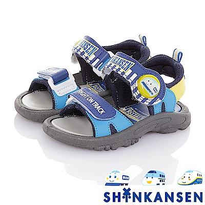 新幹線 減壓防滑運動休閒電燈涼鞋童鞋-藍
