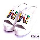 ee9 耀眼奪目鑲嵌水鑽內增高懶人拖鞋 白色