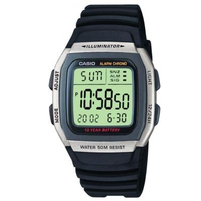 CASIO 樂活休閒運動數位錶(W-96H-1A)-銀框X黑/38mm