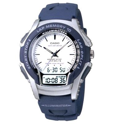 CASIO藍衣武士指針雙顯錶(WS-300-2E)