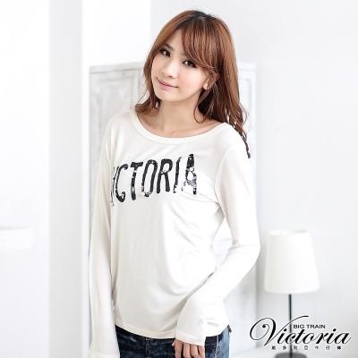 Victoria 搖滾縫珠LOGO不對稱T-女-白色