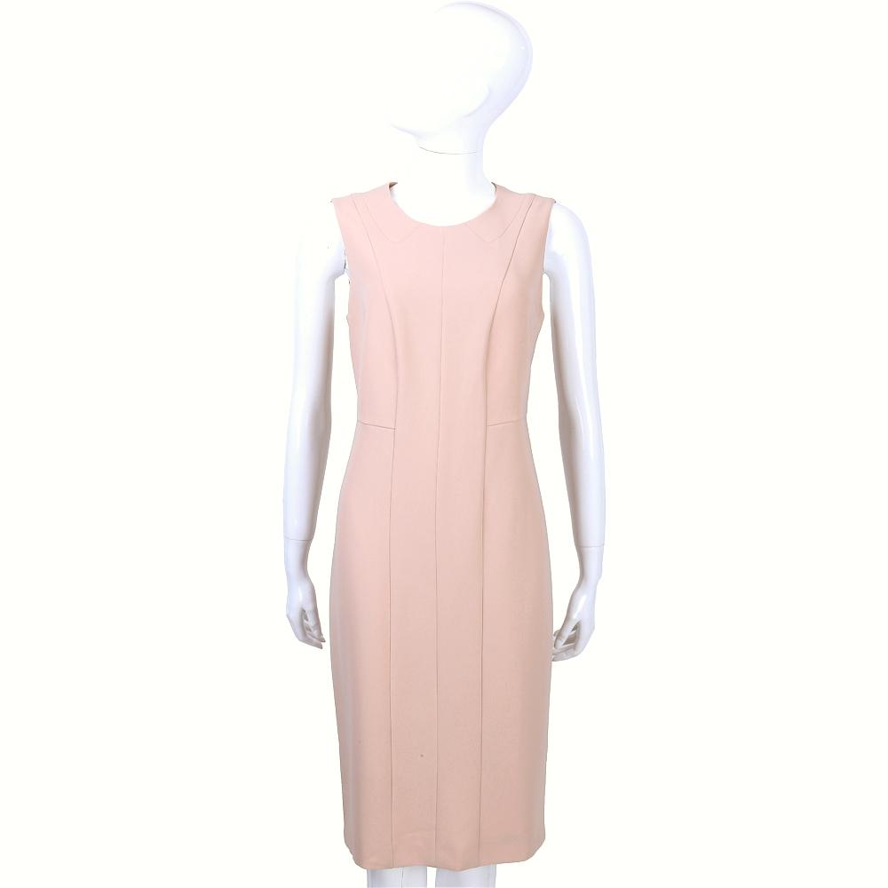 MAX MARA 粉色直條剪裁無袖洋裝