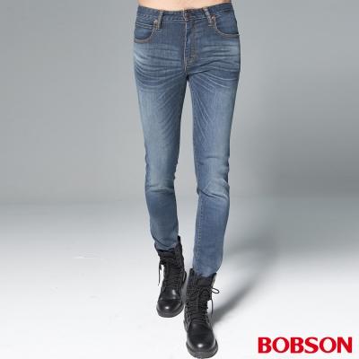 "BOBSON 男款1971""日本進口黑標""中藍刷紋彈性褲"