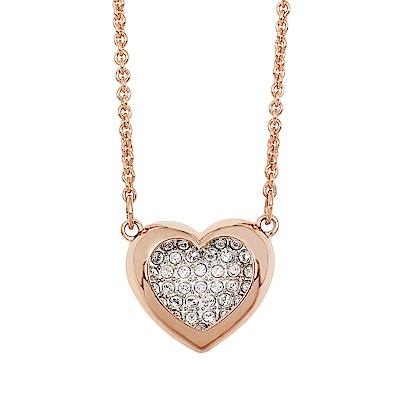 SWAROVSKI 施華洛世奇 飽滿雙愛心水晶造型玫瑰金項鍊
