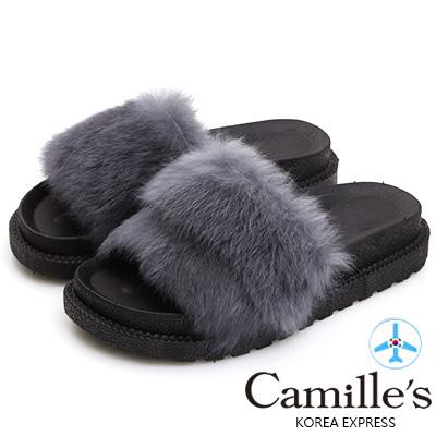 Camille's 韓國空運-奢華蓬鬆毛毛厚底涼拖鞋-灰色