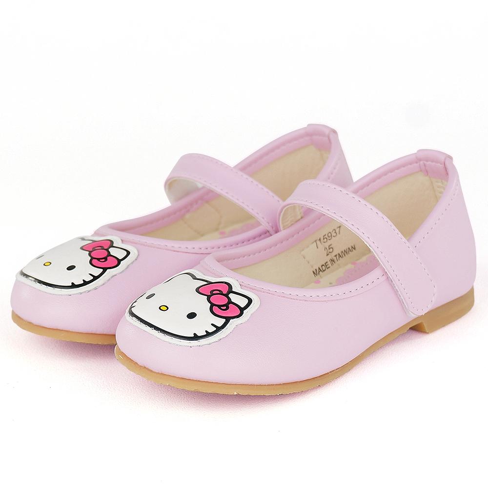 Hello Kitty專櫃精品超纖輕量舒適透氣皮防滑公主童鞋-粉