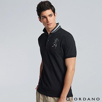 GIORDANO 男裝勝利獅王3D刺繡彈力萊卡POLO衫 -34 標誌黑