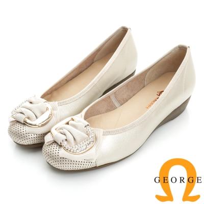 GEORGE 喬治-通勤系列 真皮釦環平底鞋包鞋(女)-白色
