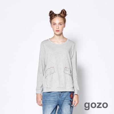 gozo 幾何虛線花型口袋造型上衣(共2色)