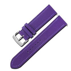 Watchband /HERMES 愛馬仕 法國進口簡約車線替用真皮錶帶-紫色