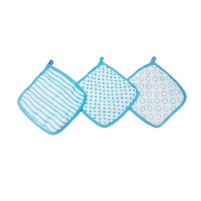 美國idealbaby 嬰兒小方巾(3入)-藍星星 IB653