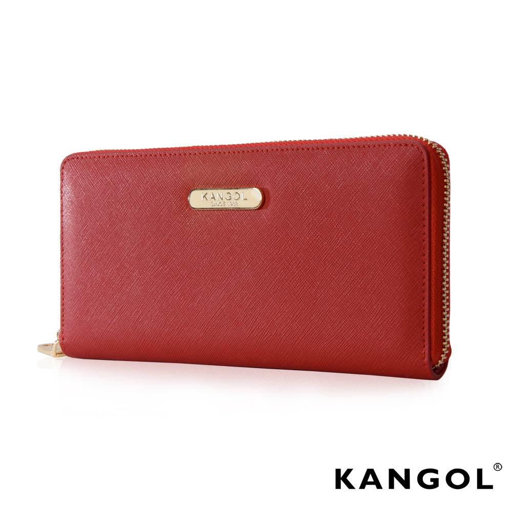 KANGOL英式優雅經典風華拉鍊長皮夾十字紋頭層皮設計感-艷紅