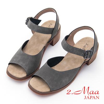 2.Maa - 休閒素面設計扣環涼鞋 - 灰