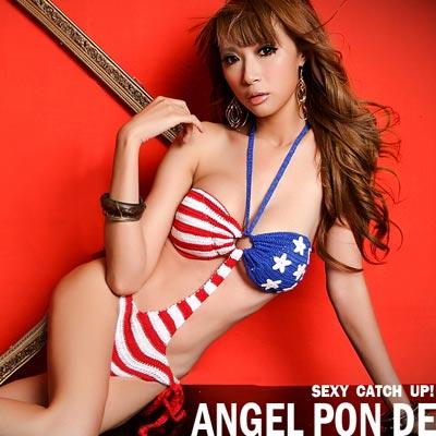 美式國旗針織手勾連身比基尼連身褲天使波堤