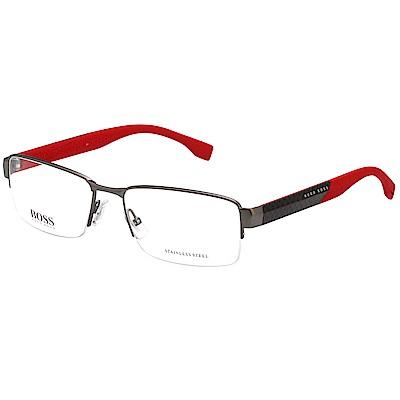 HUGO BOSS 半框 時尚光學眼鏡 (槍色)BOSS 0837