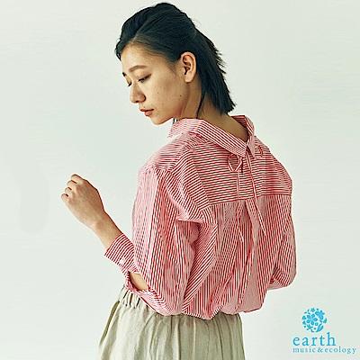 earth music 直條紋後綁帶設計長袖襯衫