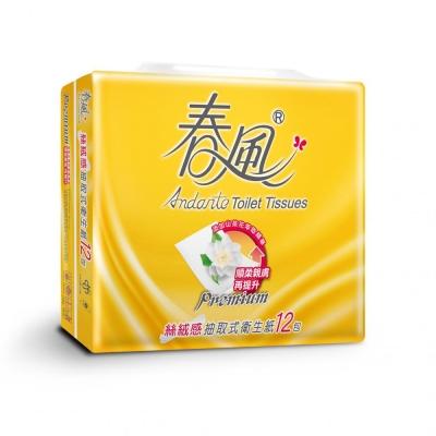 春風 絲絨感抽取式衛生紙-山茶花(100抽x12包x6串)/箱
