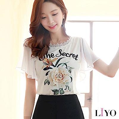 上衣蕾絲玫瑰印花雪紡荷葉袖顯瘦OL名媛T恤LIYO理優 S-XXL