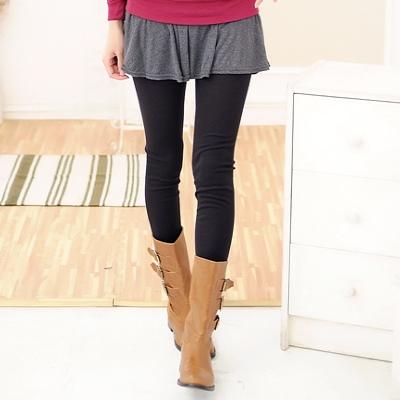 La Belleza修飾下半身‧荷葉波浪裙擺層次假兩件棉質內搭褲