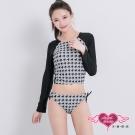 泳衣 率性千鳥 兩件式長袖泳衣(黑白M~XL)AngelHoney天使霓裳