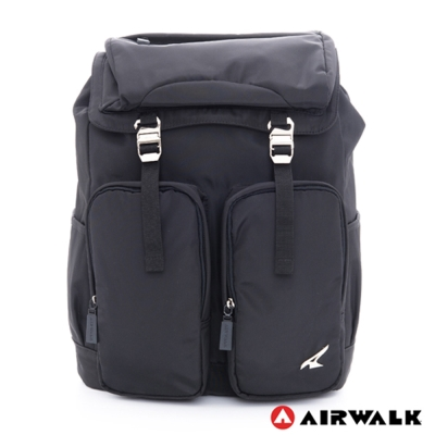 美國 AIRWALK超大空間筆電夾層後背包(黑)