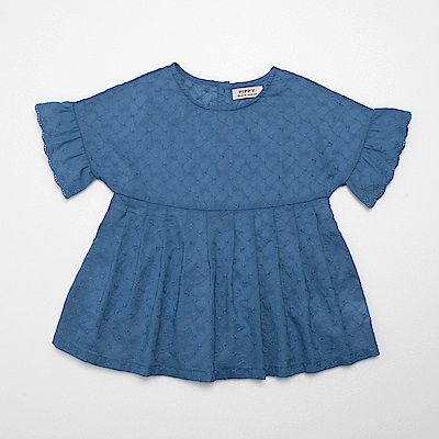 PIPPY 平織刺繡短袖傘狀上衣 藍