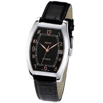 epos 經典酒桶造型機械腕錶-黑/ 33 x 40 mm