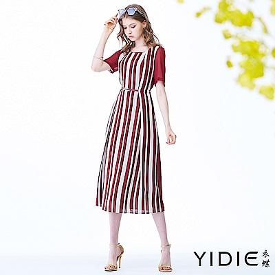 【YIDIE衣蝶】撞色條紋拼接雪紡長洋裝
