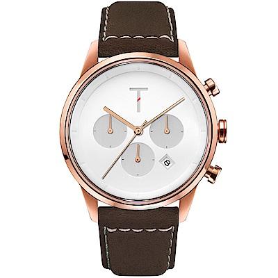 TYLOR 風尚三眼計時皮革手錶-白X玫瑰金框/43mm