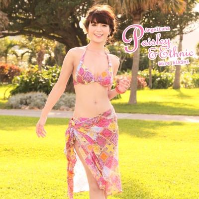 【AngelLuna日本泳裝】波西米亞風情綁帶三件式比基尼泳衣-黃色