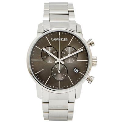 CK 經典個性有型三眼不鏽鋼手錶(K2G27143)-灰黑面/42mm