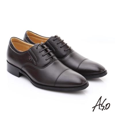 A.S.O 超輕雙核心 羊皮綁帶紳士皮鞋 咖啡色
