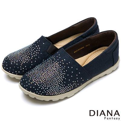 DIANA-輕-愛的-閃耀進口金蔥超舒適水鑽樂福鞋