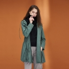 Hana+花木馬 清新無印風連帽素面口袋拉鍊輕薄防風長版外套-綠