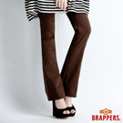 BRAPPERS 女款 新美腳 Royal 系列-女用彈性雙色亮片幾何小喇叭褲-咖啡